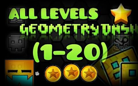 All levels Geometry Dash 1-20 [100%] [All Coins]【Play Games】