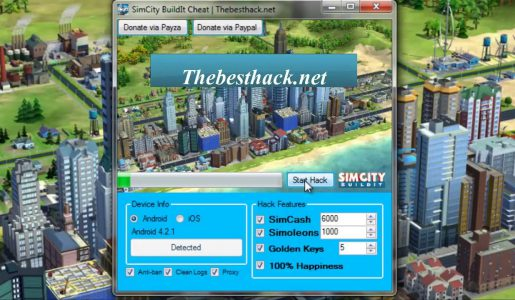 SimCity Buildit HACK CHEATS (SimCash-Simoleons-GoldenKeys-Happiness)【Play Games】